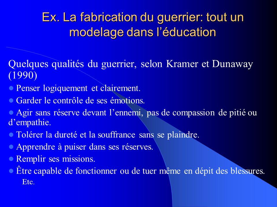 Ex. La fabrication du guerrier: tout un modelage dans l'éducation