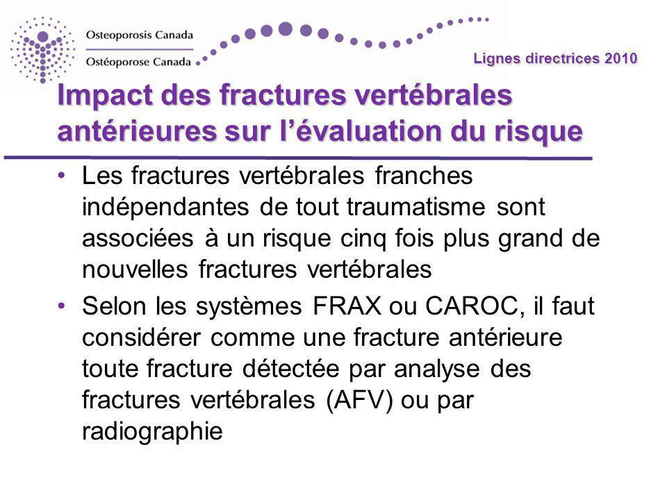 Impact des fractures vertébrales antérieures sur l'évaluation du risque