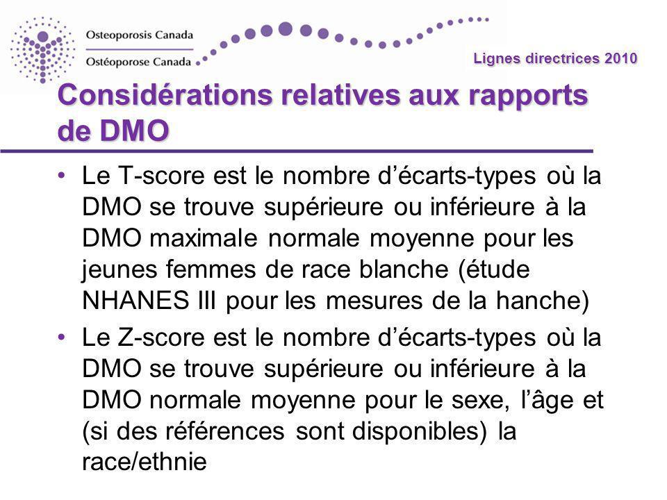 Considérations relatives aux rapports de DMO