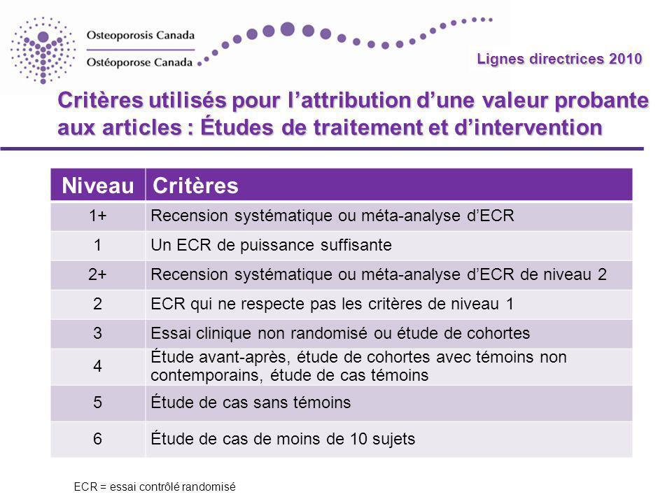 Lignes directrices 2010 Critères utilisés pour l'attribution d'une valeur probante aux articles : Études de traitement et d'intervention.