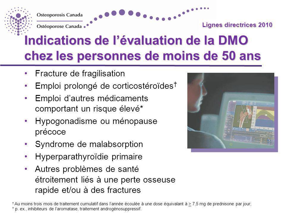 Indications de l'évaluation de la DMO chez les personnes de moins de 50 ans