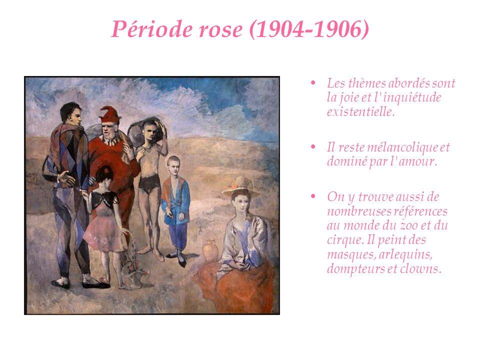 Période rose (1904-1906) Les thèmes abordés sont la joie et l inquiétude existentielle. Il reste mélancolique et dominé par l amour.