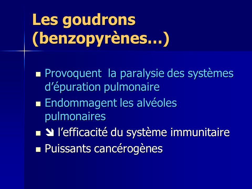 Les goudrons (benzopyrènes…)