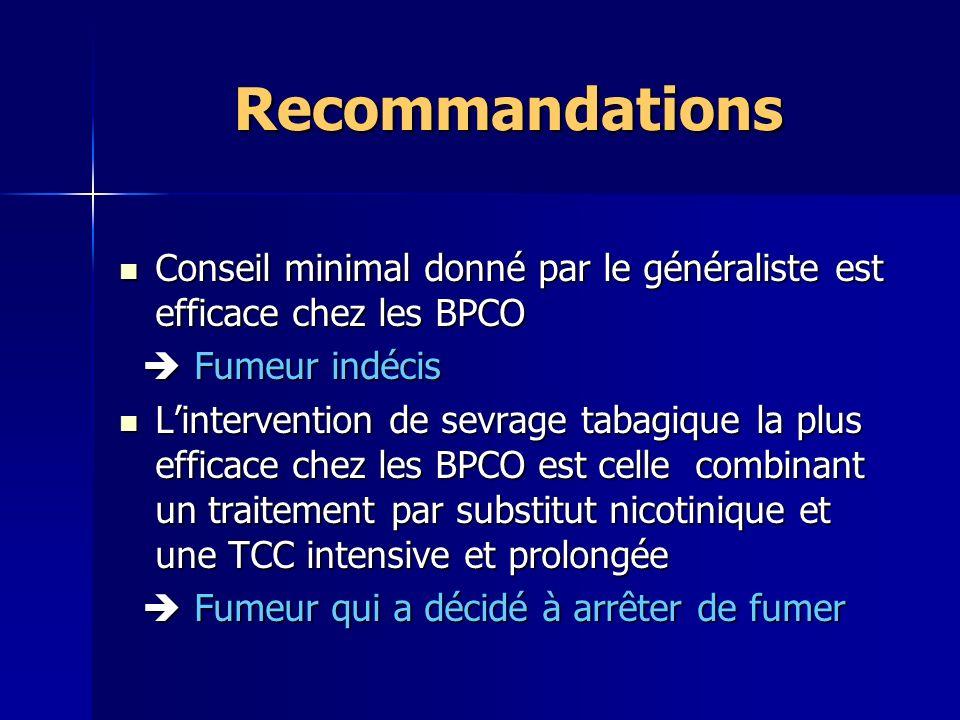 Recommandations Conseil minimal donné par le généraliste est efficace chez les BPCO.  Fumeur indécis.