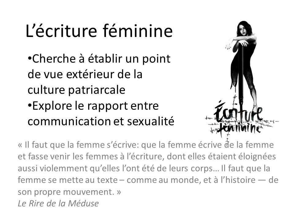 L'écriture féminine Cherche à établir un point de vue extérieur de la culture patriarcale. Explore le rapport entre communication et sexualité.
