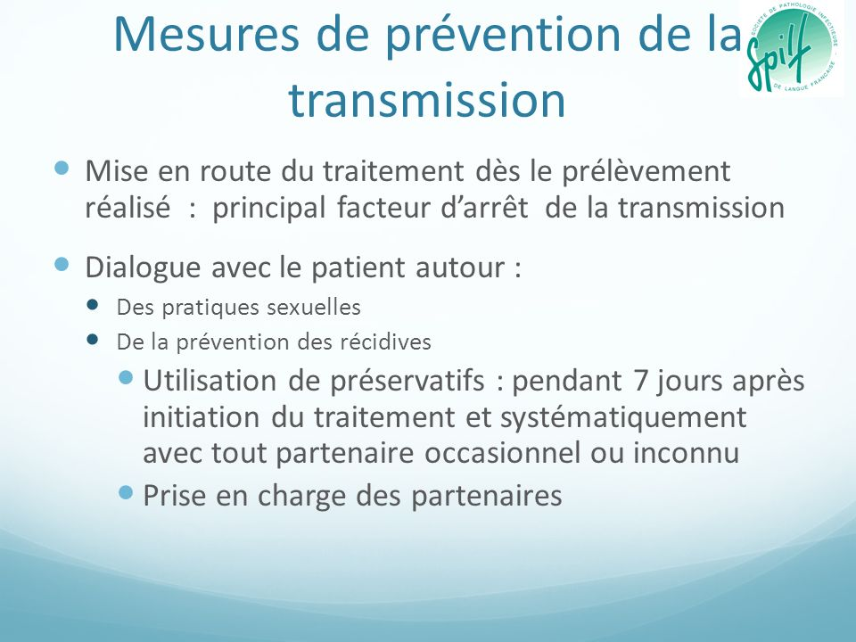 Mesures de prévention de la transmission