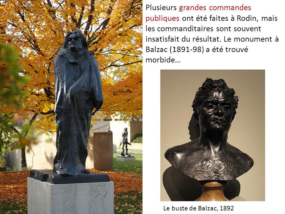 Plusieurs grandes commandes publiques ont été faites à Rodin, mais les commanditaires sont souvent insatisfait du résultat. Le monument à Balzac (1891-98) a été trouvé morbide…