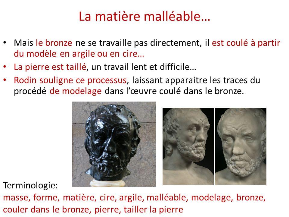 La matière malléable… Mais le bronze ne se travaille pas directement, il est coulé à partir du modèle en argile ou en cire…