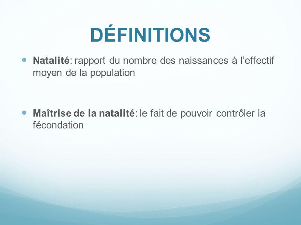 DÉFINITIONS Natalité: rapport du nombre des naissances à l'effectif moyen de la population.