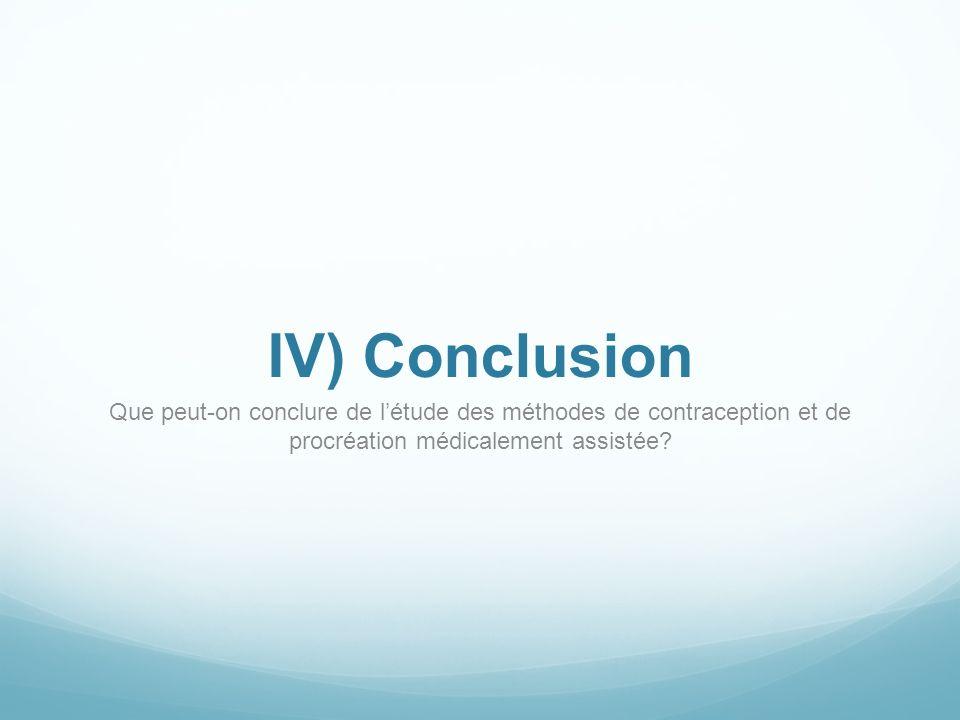IV) Conclusion Que peut-on conclure de l'étude des méthodes de contraception et de procréation médicalement assistée