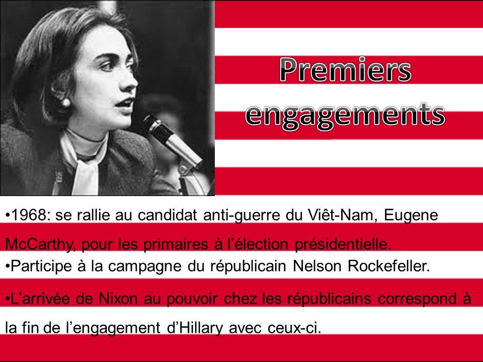 Premiers engagements 1968: se rallie au candidat anti-guerre du Viêt-Nam, Eugene McCarthy, pour les primaires à l'élection présidentielle.