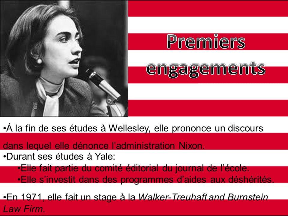 Premiers engagements À la fin de ses études à Wellesley, elle prononce un discours dans lequel elle dénonce l'administration Nixon.