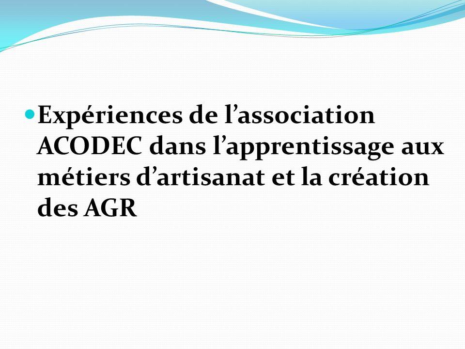 Expériences de l'association ACODEC dans l'apprentissage aux métiers d'artisanat et la création des AGR