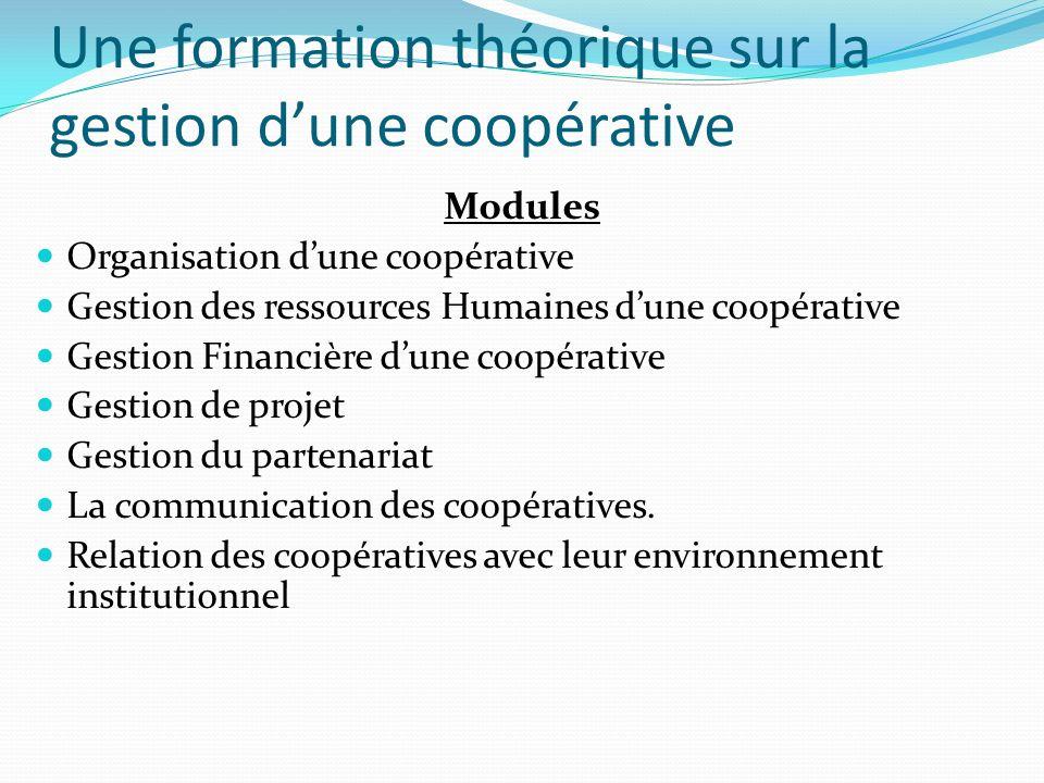 Une formation théorique sur la gestion d'une coopérative