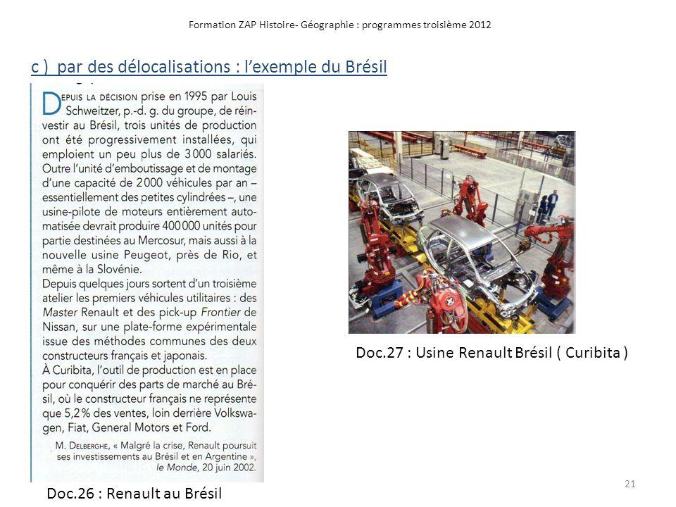 Formation ZAP Histoire- Géographie : programmes troisième 2012