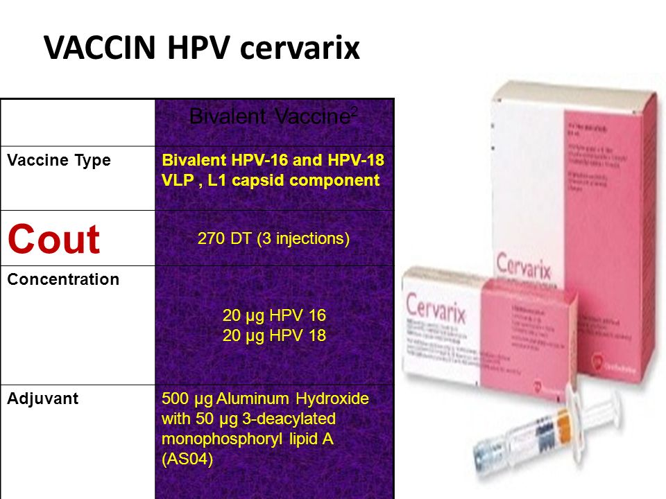 Cout VACCIN HPV cervarix Bivalent Vaccine2 Vaccine Type