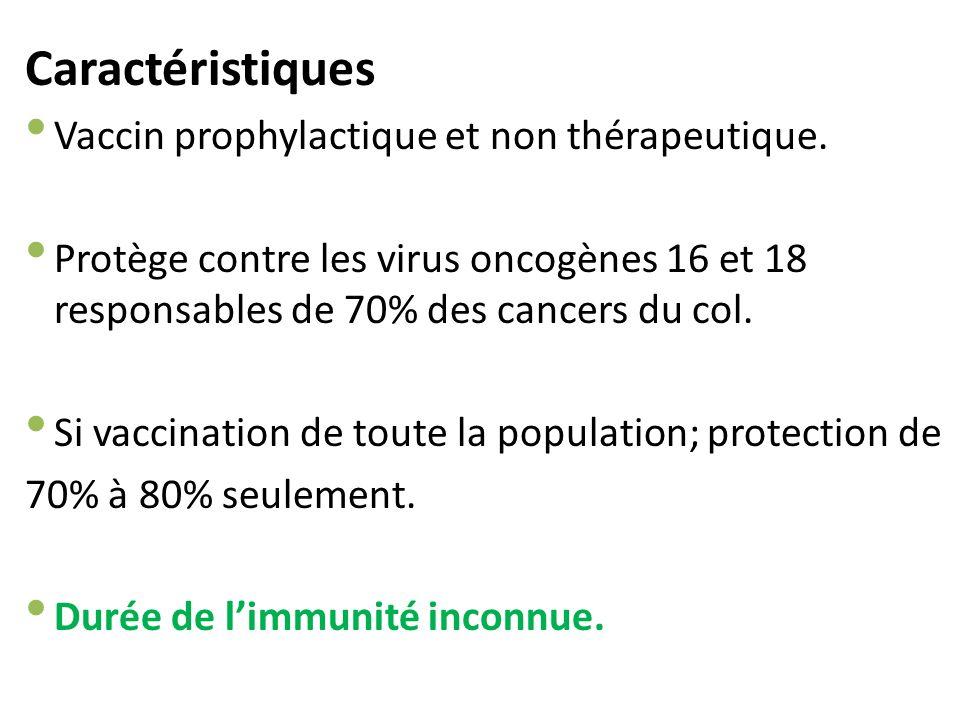 Caractéristiques Vaccin prophylactique et non thérapeutique.