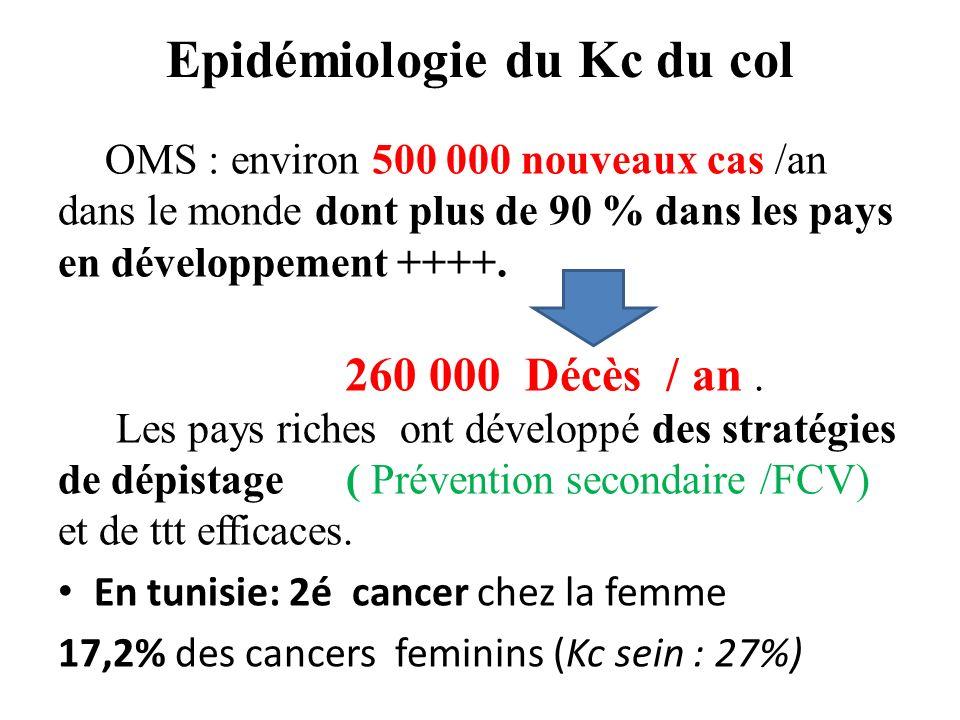 Epidémiologie du Kc du col