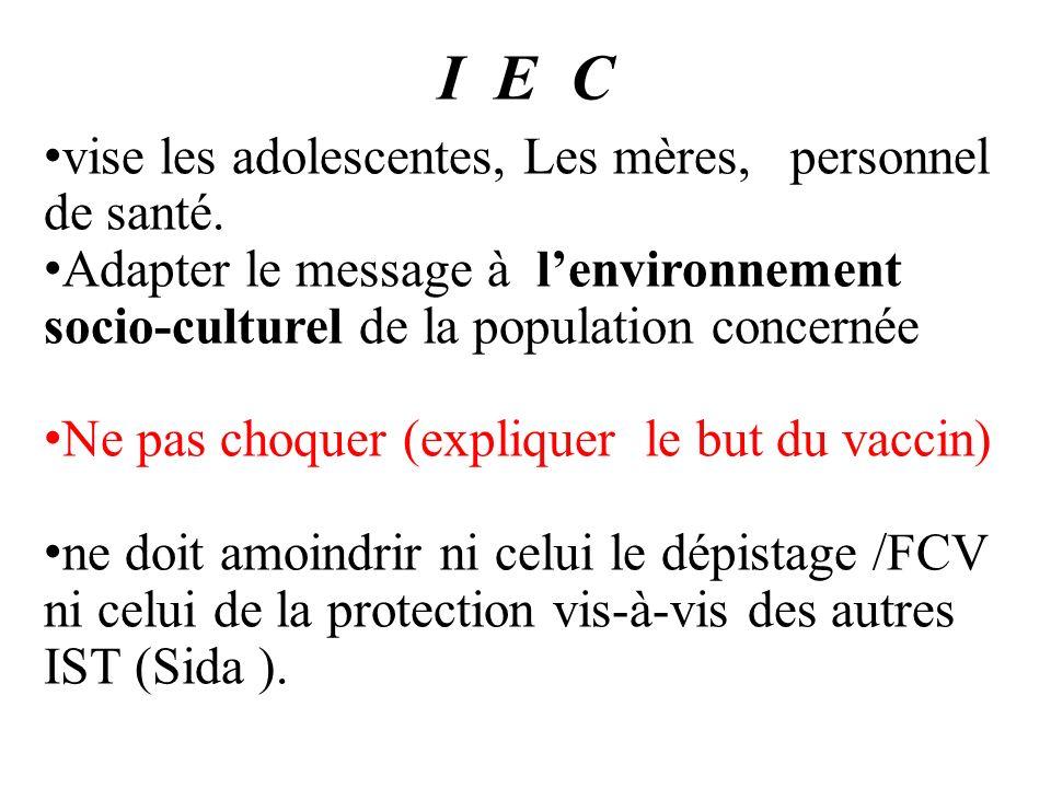I E C vise les adolescentes, Les mères, personnel de santé.