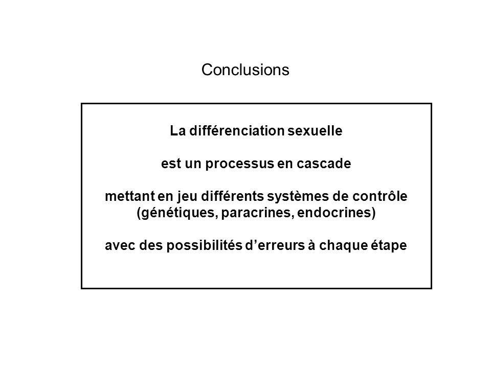 Conclusions La différenciation sexuelle est un processus en cascade