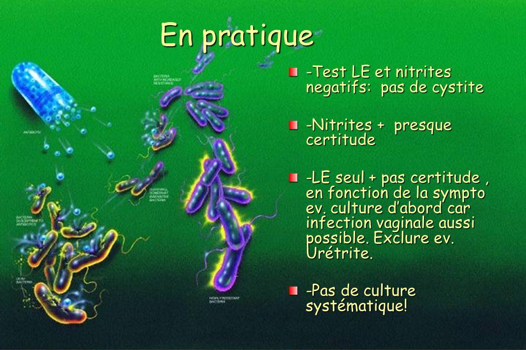 En pratique -Test LE et nitrites negatifs: pas de cystite