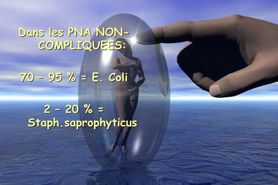 Dans les PNA NON-COMPLIQUEES: 2 – 20 % = Staph.saprophyticus