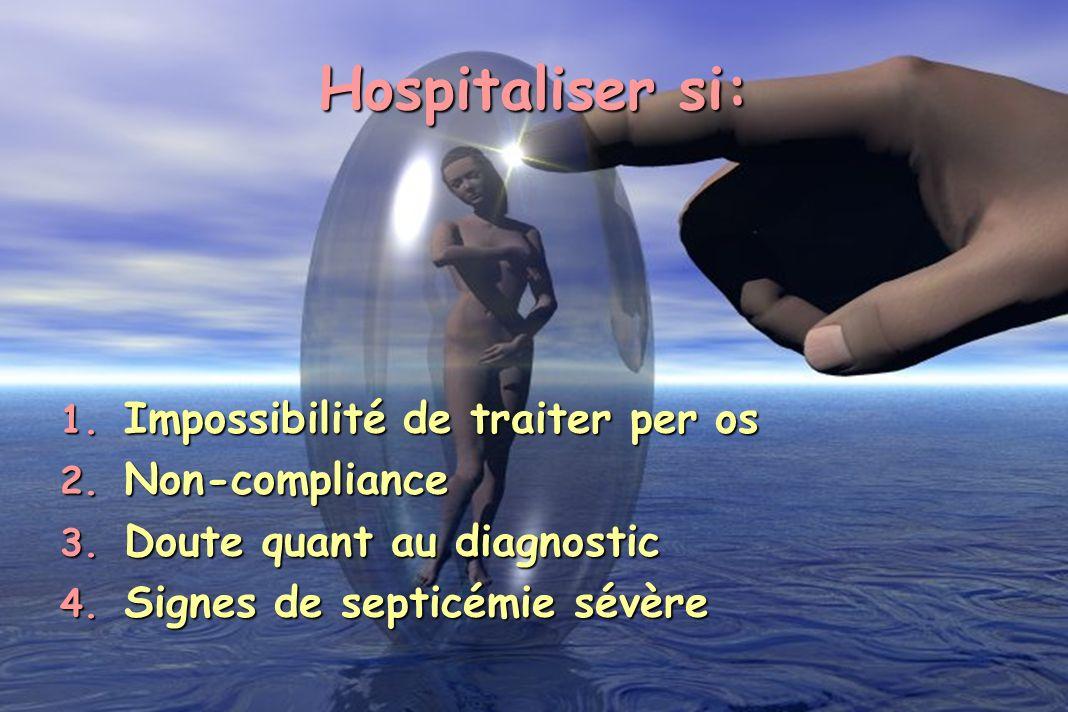 Hospitaliser si: Impossibilité de traiter per os Non-compliance