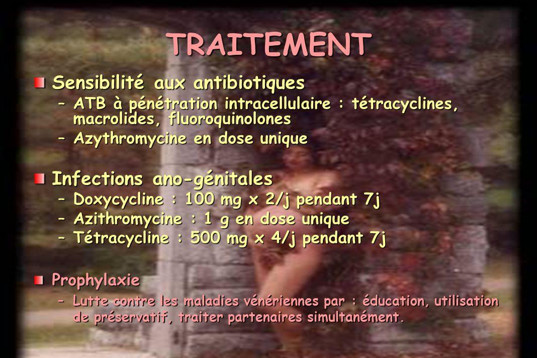 TRAITEMENT Sensibilité aux antibiotiques Infections ano-génitales