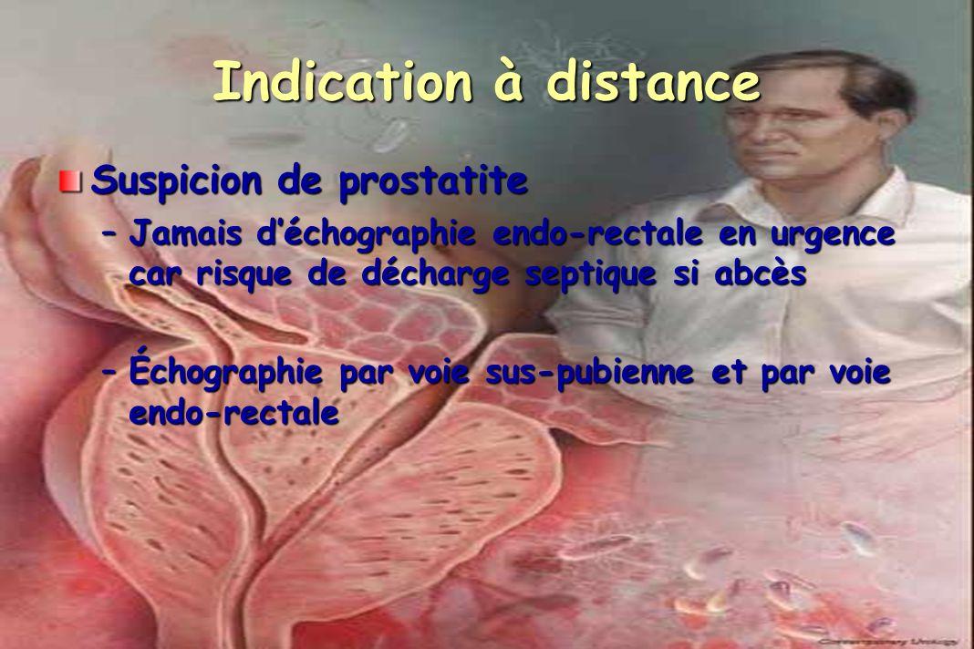 Indication à distance Suspicion de prostatite