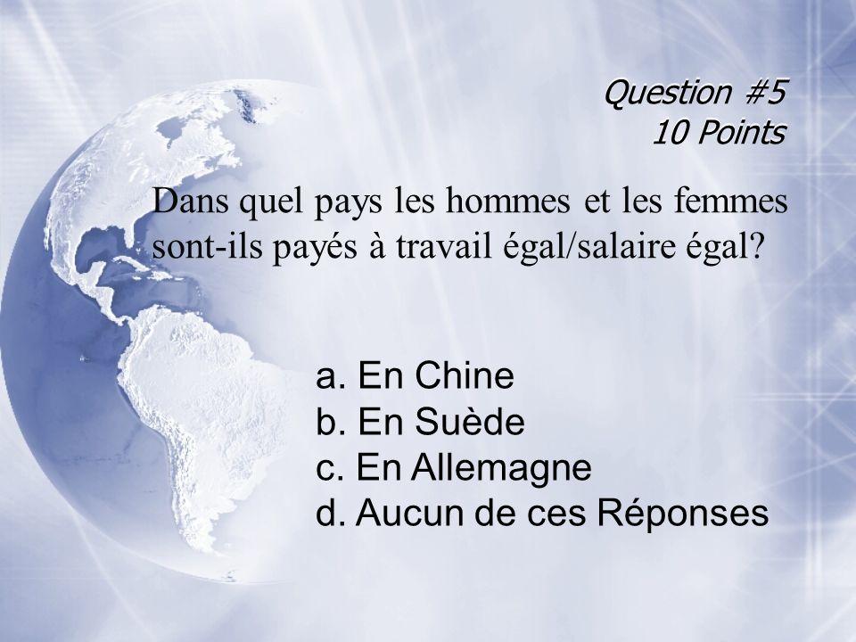 Question #5 10 Points Dans quel pays les hommes et les femmes sont-ils payés à travail égal/salaire égal