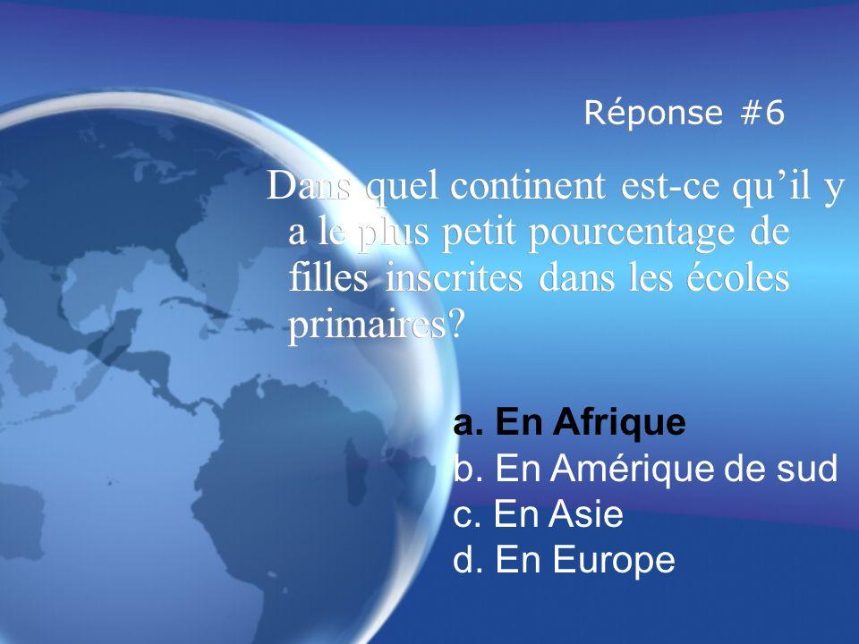 Réponse #6 Dans quel continent est-ce qu'il y a le plus petit pourcentage de filles inscrites dans les écoles primaires