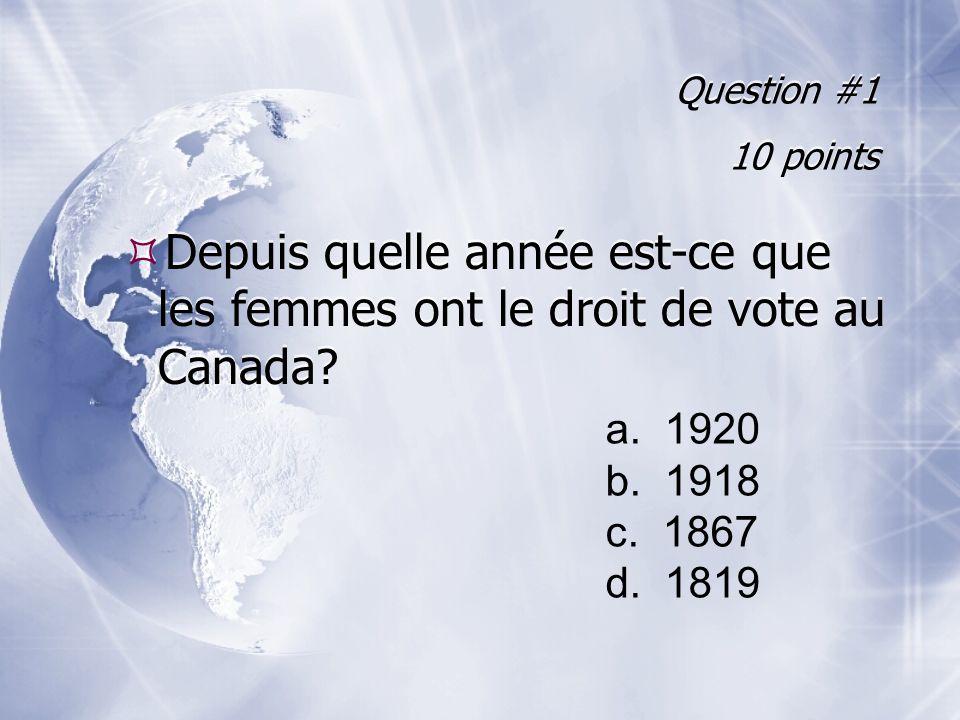 Question #1 10 points Depuis quelle année est-ce que les femmes ont le droit de vote au Canada a. 1920.