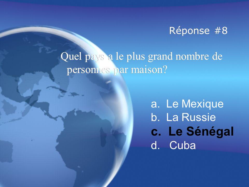 Réponse #8 Quel pays a le plus grand nombre de personnes par maison a. Le Mexique. b. La Russie.