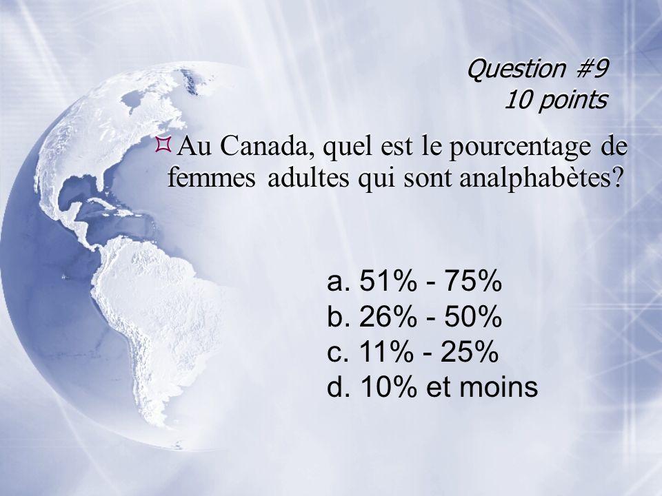 Question #9 10 points Au Canada, quel est le pourcentage de femmes adultes qui sont analphabètes a. 51% - 75%