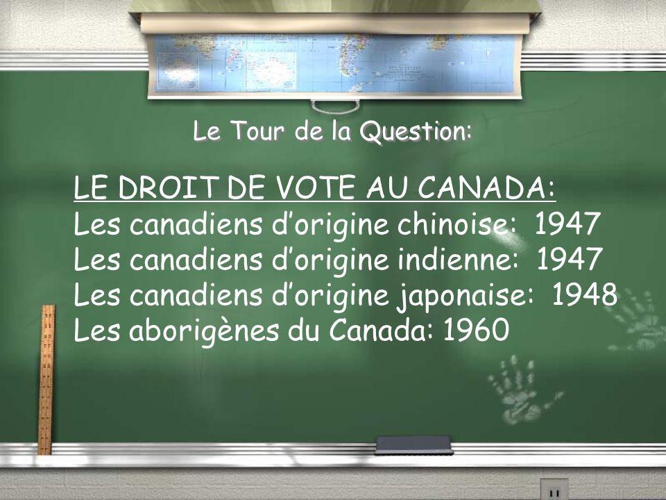 LE DROIT DE VOTE AU CANADA: Les canadiens d'origine chinoise: 1947