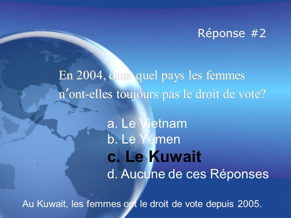c. Le Kuwait En 2004, dans quel pays les femmes