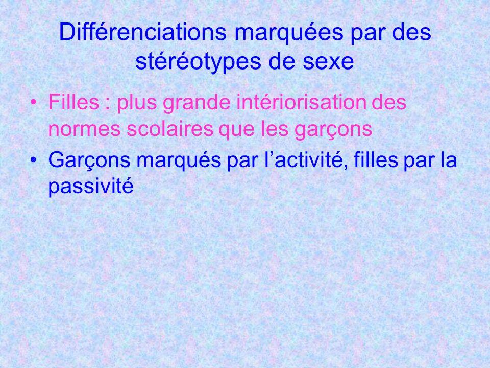 Différenciations marquées par des stéréotypes de sexe