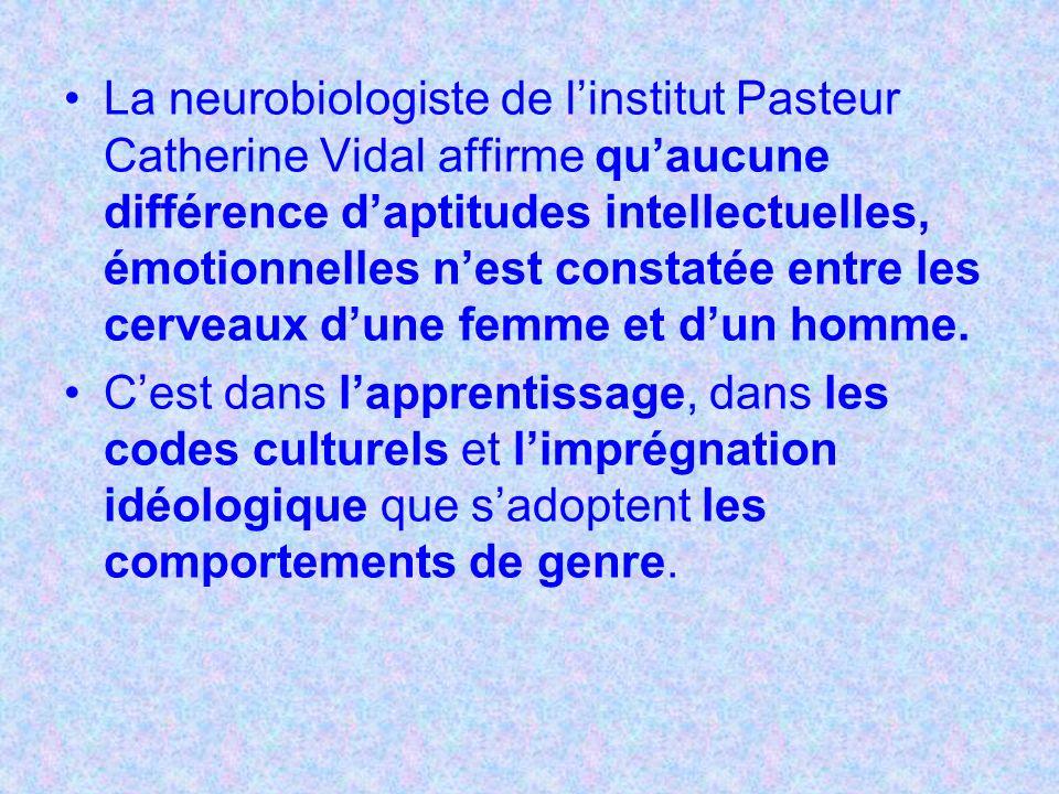 La neurobiologiste de l'institut Pasteur Catherine Vidal affirme qu'aucune différence d'aptitudes intellectuelles, émotionnelles n'est constatée entre les cerveaux d'une femme et d'un homme.