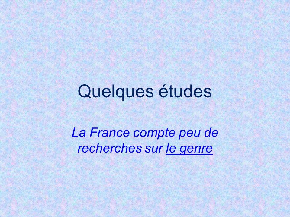 La France compte peu de recherches sur le genre