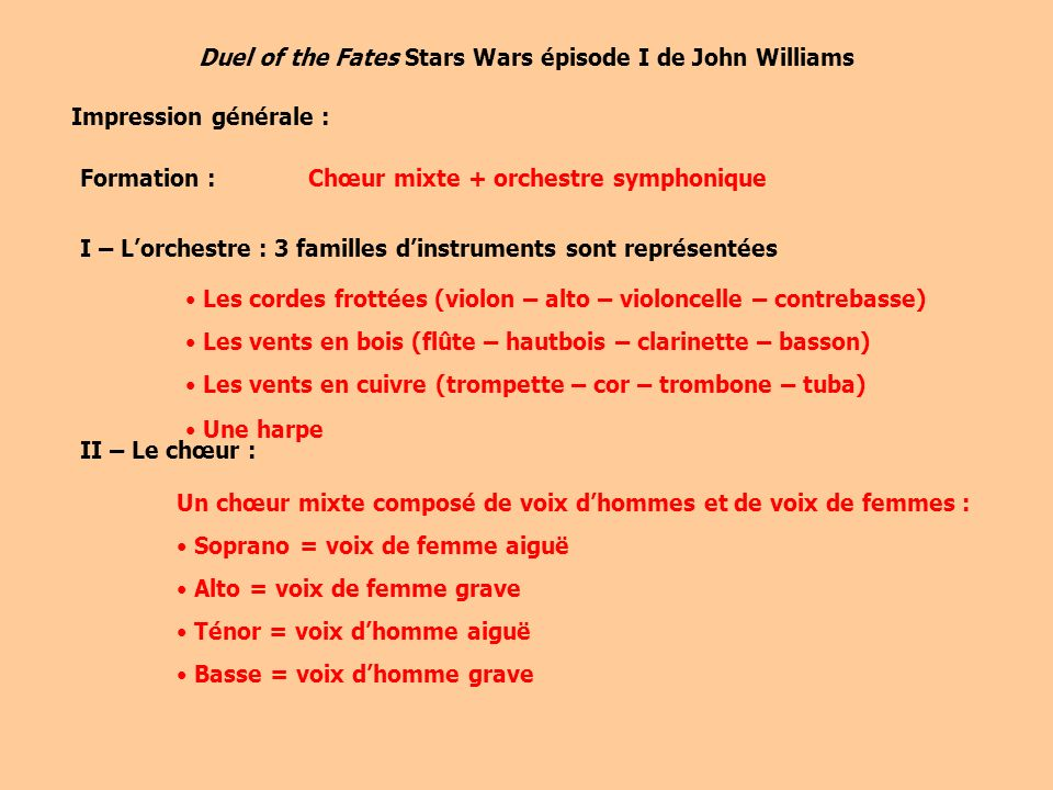 Duel of the Fates Stars Wars épisode I de John Williams