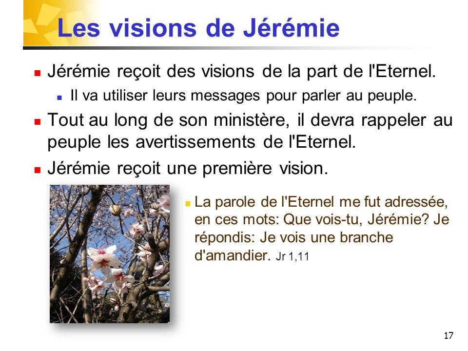 Les visions de Jérémie Jérémie reçoit des visions de la part de l Eternel. Il va utiliser leurs messages pour parler au peuple.