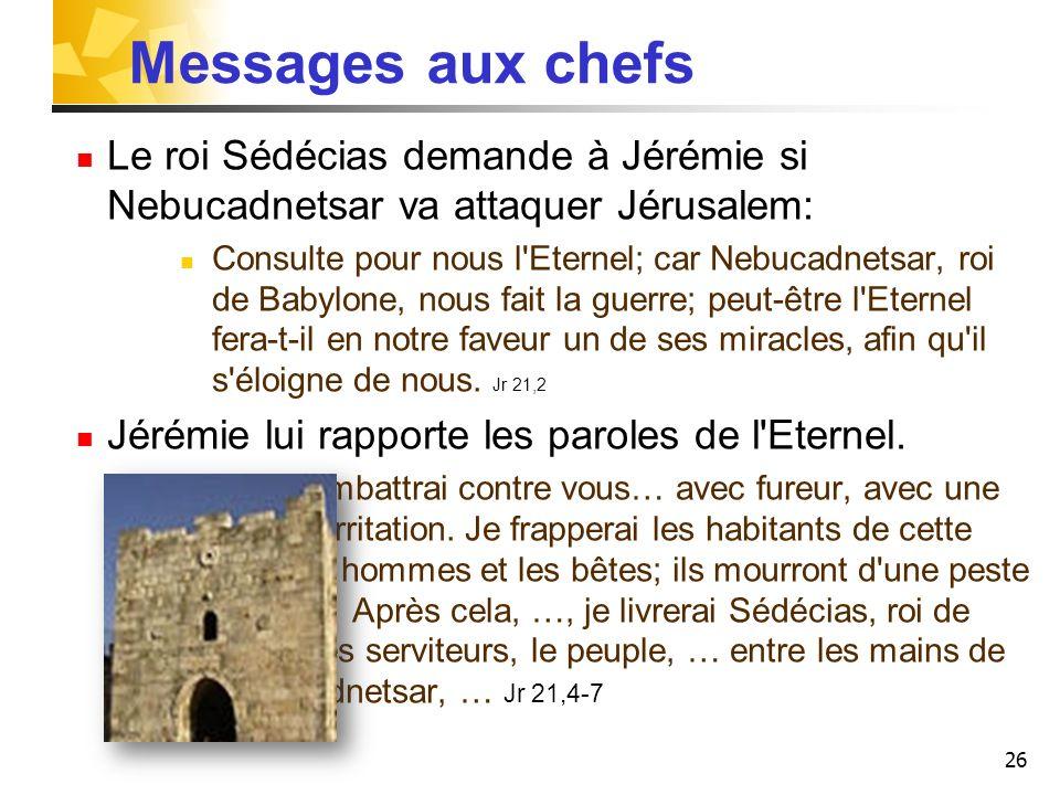 Messages aux chefs Le roi Sédécias demande à Jérémie si Nebucadnetsar va attaquer Jérusalem: