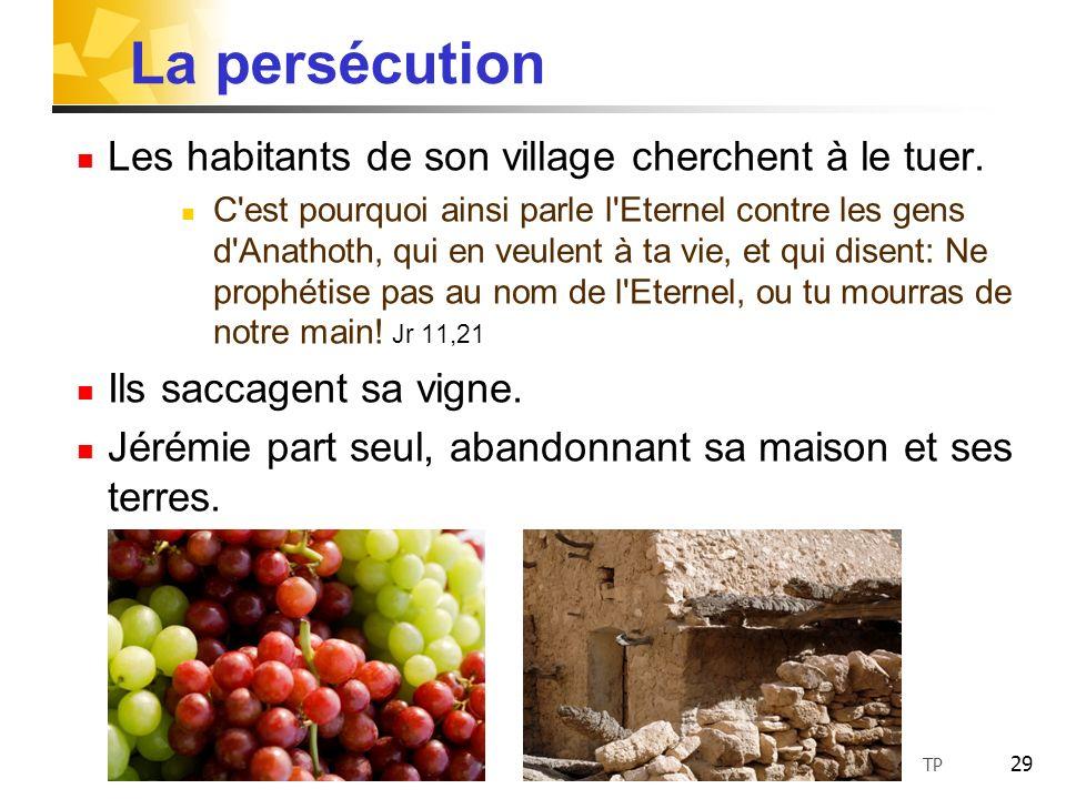La persécution Les habitants de son village cherchent à le tuer.