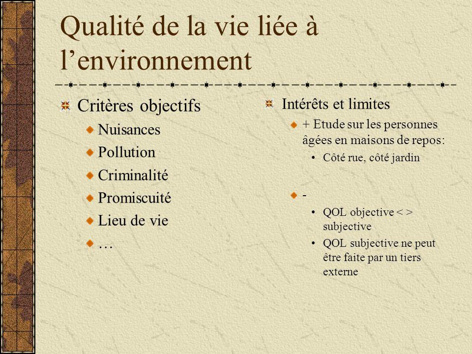 Qualité de la vie liée à l'environnement