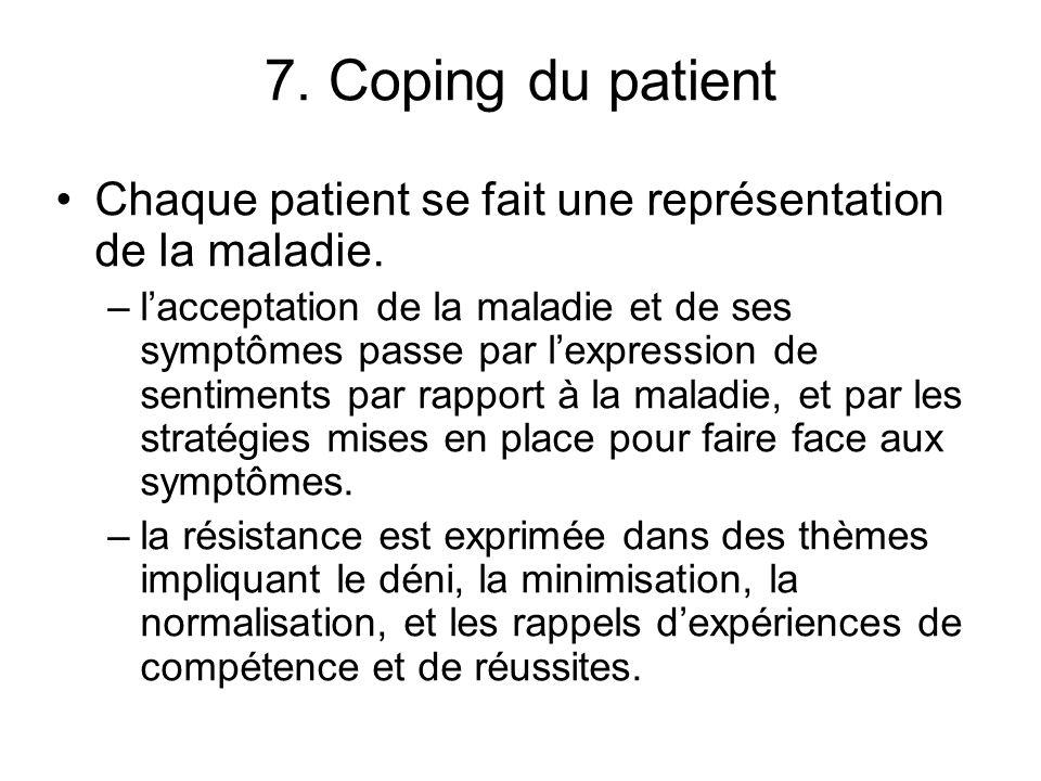 7. Coping du patient Chaque patient se fait une représentation de la maladie.