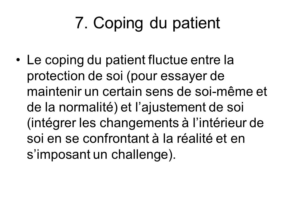 7. Coping du patient