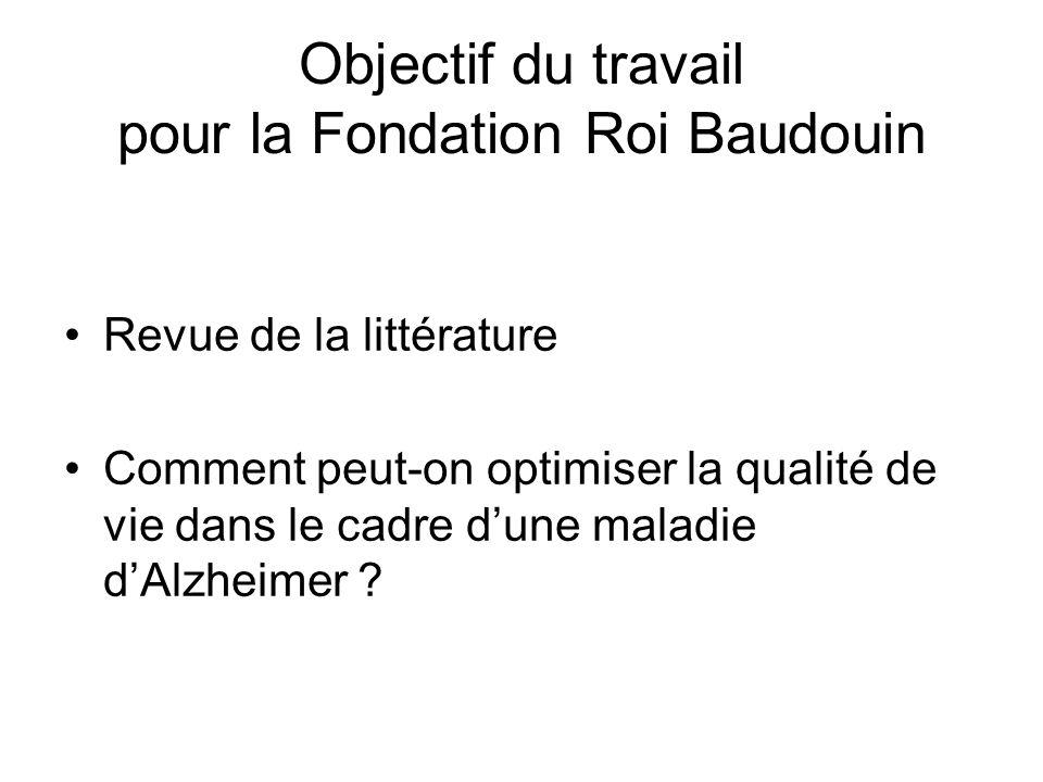 Objectif du travail pour la Fondation Roi Baudouin