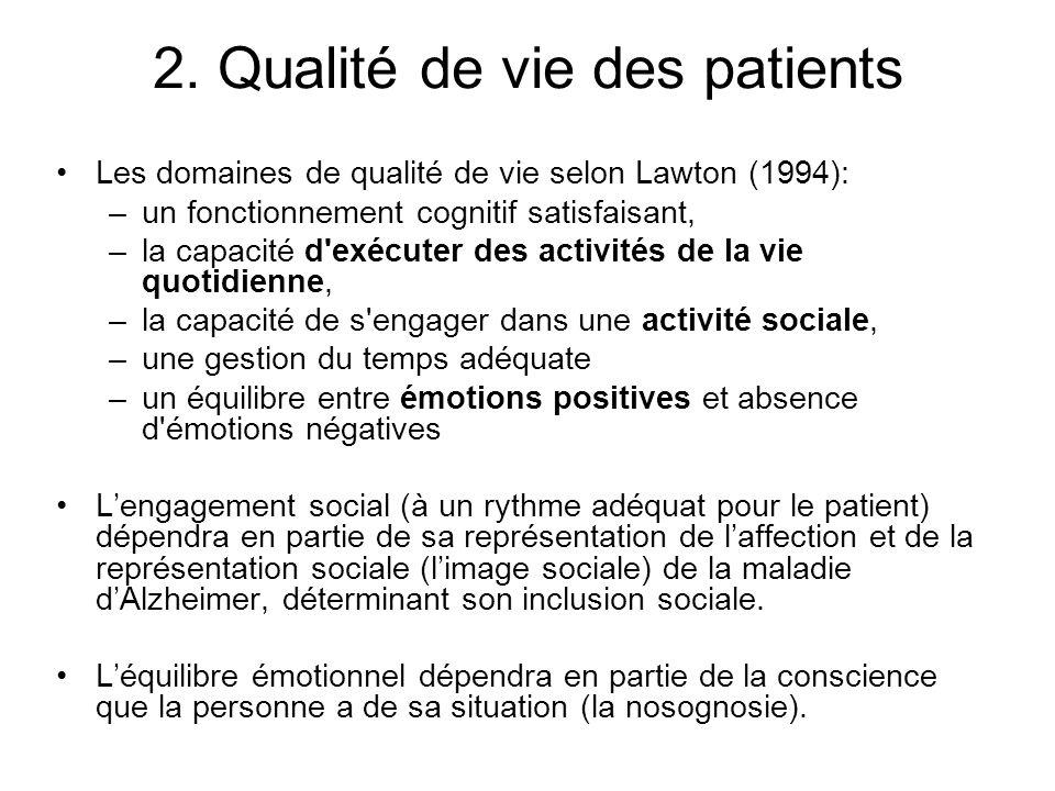 2. Qualité de vie des patients