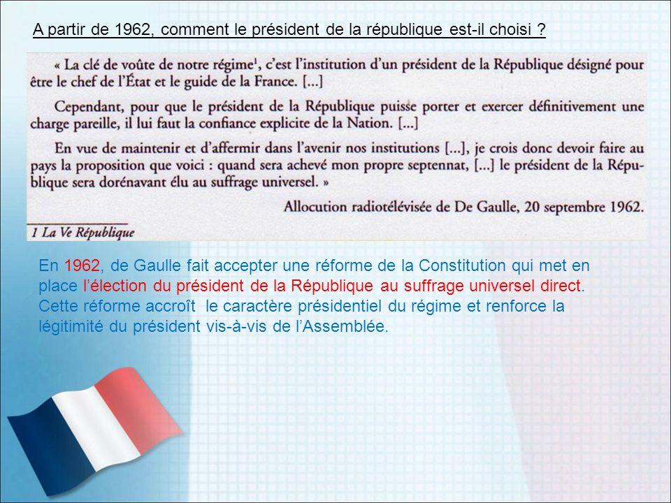 A partir de 1962, comment le président de la république est-il choisi
