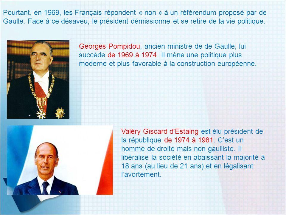Pourtant, en 1969, les Français répondent « non » à un référendum proposé par de Gaulle. Face à ce désaveu, le président démissionne et se retire de la vie politique.